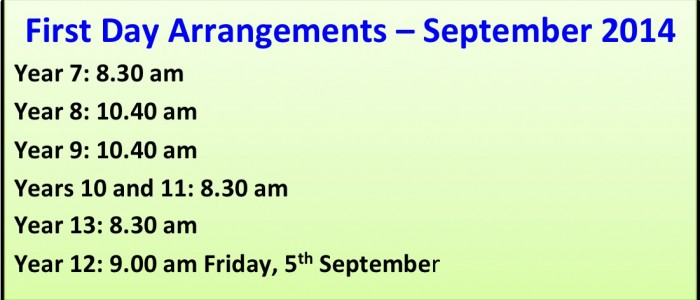 First Day Arrangements – September 2014