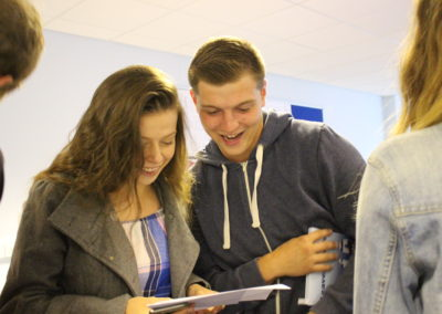 Students at Paignton Community and Sports Academy celebrating fantastic results!