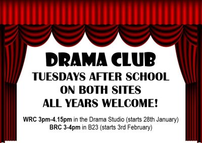 Drama Clubs available to all